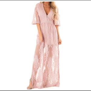 LIGHT MAUVE EMBROIDERED MAXI DRESS